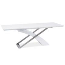 Meghosszabbítható étkezőasztal, fehér extra magasfényű HG/fém,  KROS