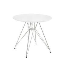 Étkezőasztal, króm/MDF, fehér extra magasfényű HG, RONDY