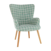 Elegáns fotel, zöld szövet mintával, BRANDO