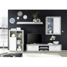 Nappali szekrénysor, fehér/beton, KLARK