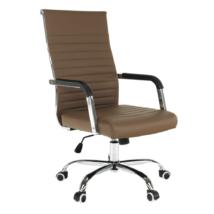 Irodai szék, textilbőr/fém, taupe/króm, FARAN