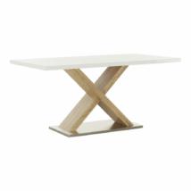 Étkezőasztal, fehér magasfényű HG/sonoma tölgy, FARNEL