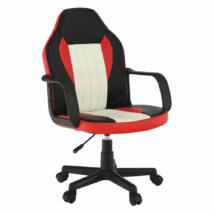 Irodai fotel, fekete/piros/bézs, MALIK NEW