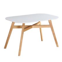 Étkezőasztal, fehér/természetes fa, CYRUS 2  NEW