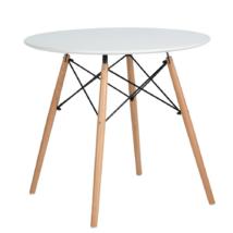 Étkezőasztal, fehér/matt/bükk, DEMIN