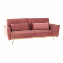 Széthúzhatós kanapé, rózsaszín Velvet anyag/gold króm-arany, HORSTA