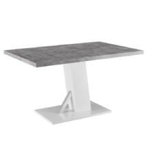 Étkezőasztal, beton/fehér extra magas fényű HG, 138, BOLAST