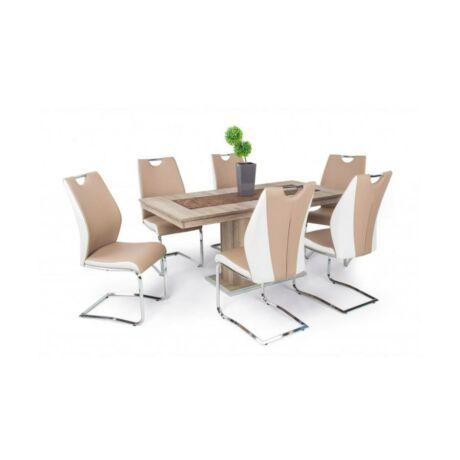 Adél 6 személyes étkezőgarnitúra Flóra asztallal