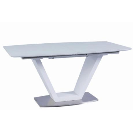 Étkezőasztal, nyitható, fehér extra magasfényű/acél, PERAK