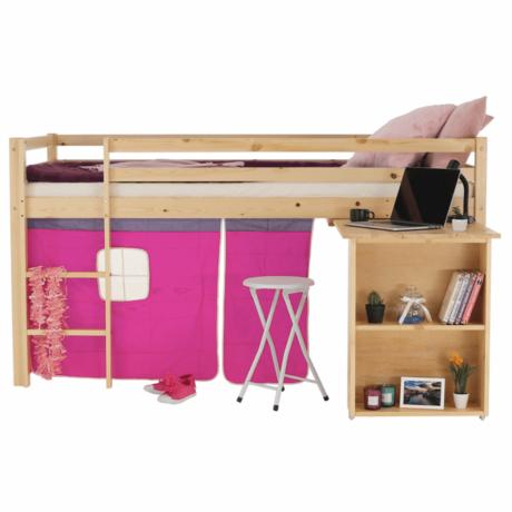 Ágy PC asztallal, fenyő fa/rózsaszín, 90x200, ALZENA