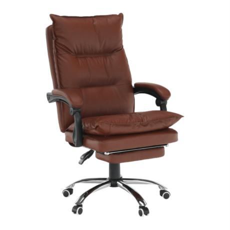 Irodai szék lábtartóval, textilbőr barna, DRAKE