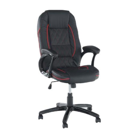 Irodai szék, textilbőr fekete/piros szegély, PORSHE New