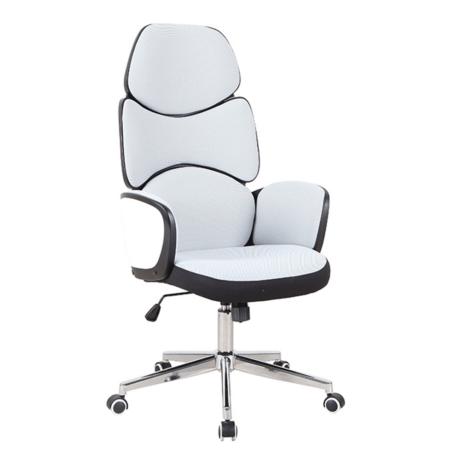 Irodai szék, szövet fehér/fekete műanyag, DELIZ