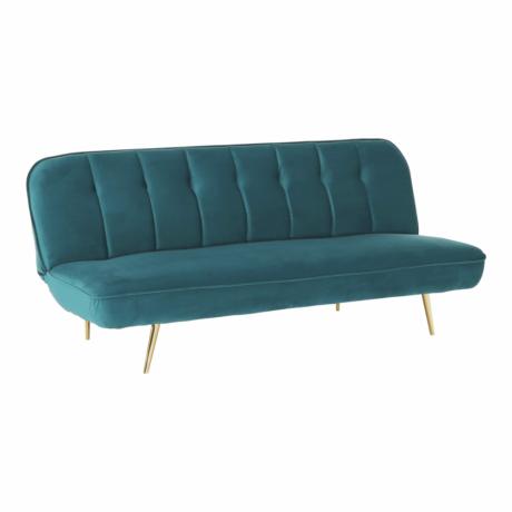 Széthúzhatós kanapé, petróleum Velvet anyag/gold króm-arany, RODANA