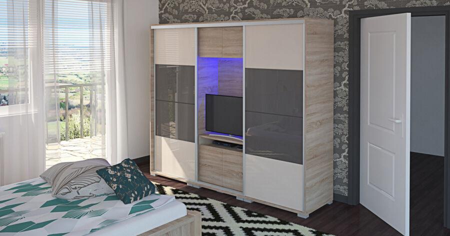 Bond Tv-s magasfényű festett üveglapos gardrób 239 cm